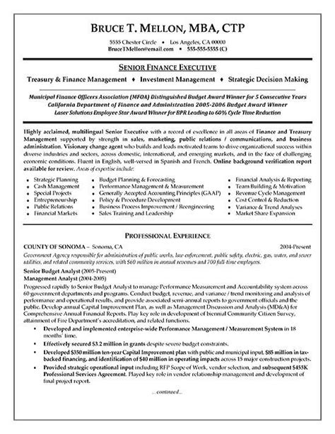 financial manager resume exle
