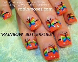 Rainbow butterflies nail art design hawaiian splash