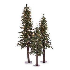 buy vickerman natural 3 piece alpine pre lit christmas trees with clear lights from bed bath