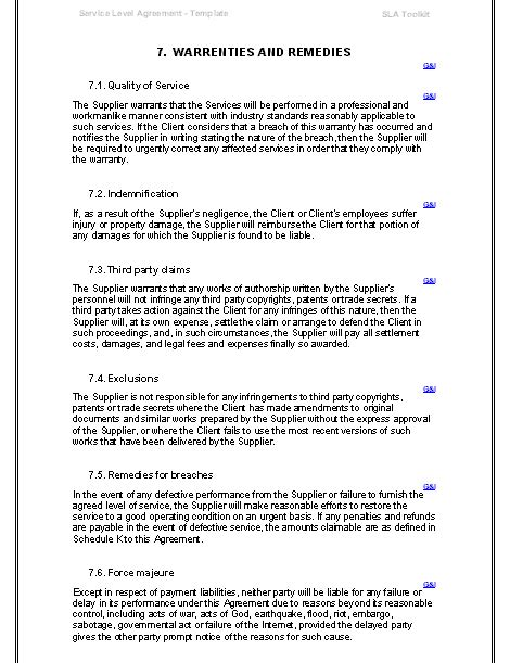 customer service level agreement template purchase