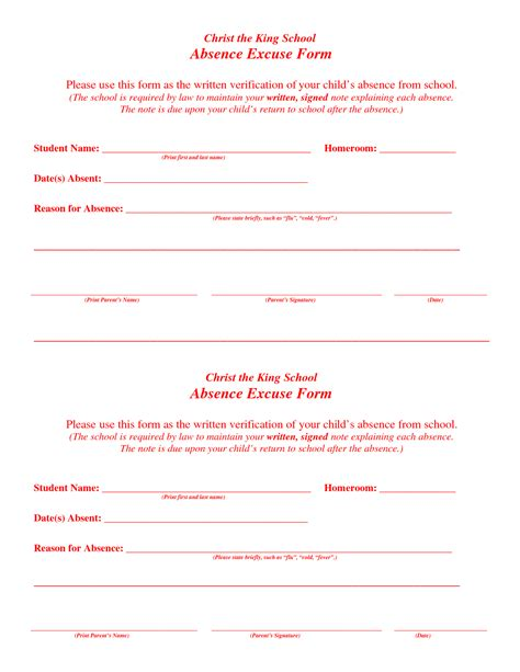 8 best images of printable excuse notes for school