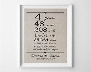 4 years together linen anniversary print 4th wedding With 4 year wedding anniversary gift ideas for him