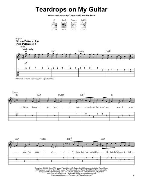 Teardrops On My Guitar Sheet Music   Taylor Swift   Easy ...