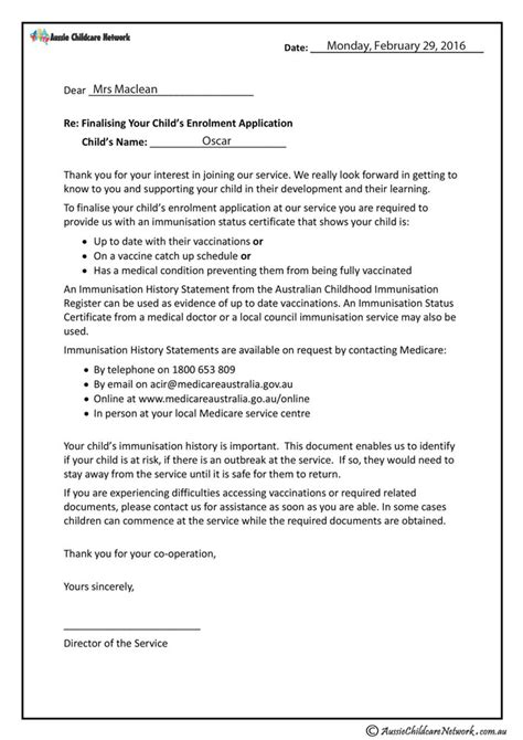 vaccination letter aussie childcare network