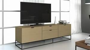 Meuble Tv Metal Noir : meuble tv kufstein bois avec pi tement en m tal noir mobilier moss ~ Teatrodelosmanantiales.com Idées de Décoration