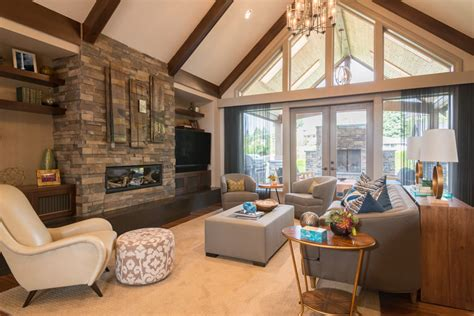 Corner Fireplace Vaulted Ceiling, Elegant Living Rooms