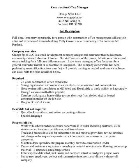 Construction Office Manager Description For Resume by Construction Management Description Building