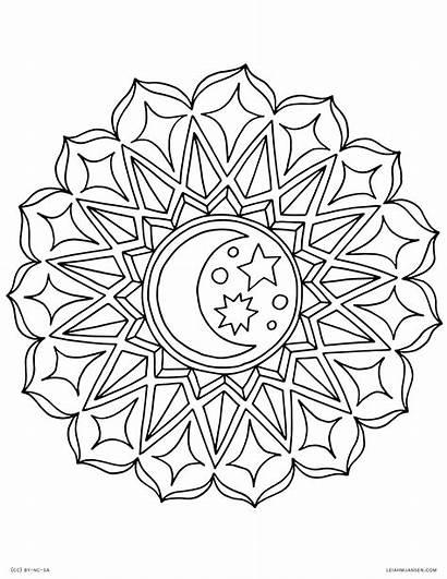 Coloring Moon Colouring Adults Celestial Mandala Printable