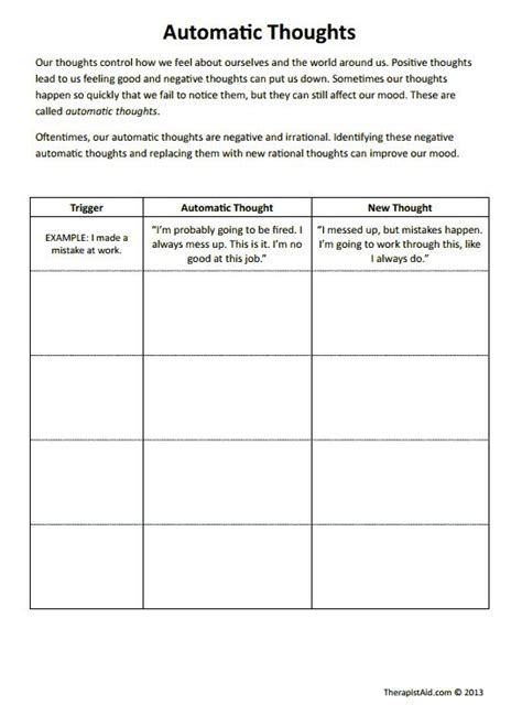 Cbt Worksheets! Automatic Thoughts Preview Good For Negative Self Talk And Filtering Work