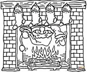 Santa Coming Out Of The Christmas Fireplace Coloring Page