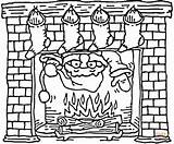 Coloring Chimney Fireplace Santa Christmas Pages Coming Drawing Holiday Stockings Printable Template Fire Claus Clipart Sheets Hung Through Dot sketch template