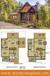 Small cabin home plan with open living floor plan open for Small rustic open floor plans with loft