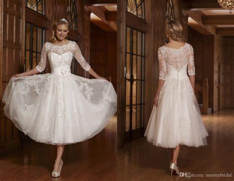 Discount 50s 60s Vintage Lace Short Wedding Dresses Half
