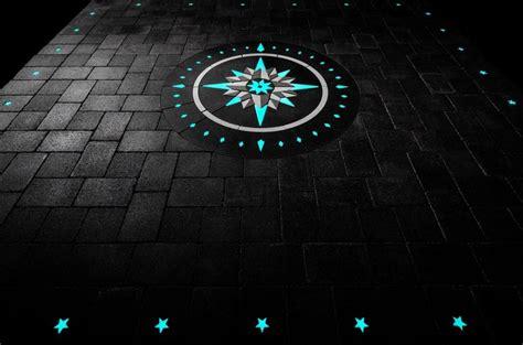 glowing pavers compass rose design  walkway paverart