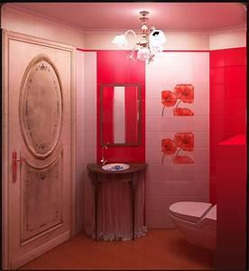 salle de bains coquelicot carrelage 20 x 20 rouge cerise With salle de bains rouge