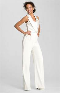 Bride party dress theia tuxedo style silk jumpsuit for Tuxedo wedding dress