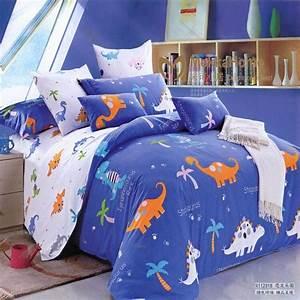 Free, Shipping, Children, Cartoon, Blue, Dinosaur, Bed, Sets, Twin