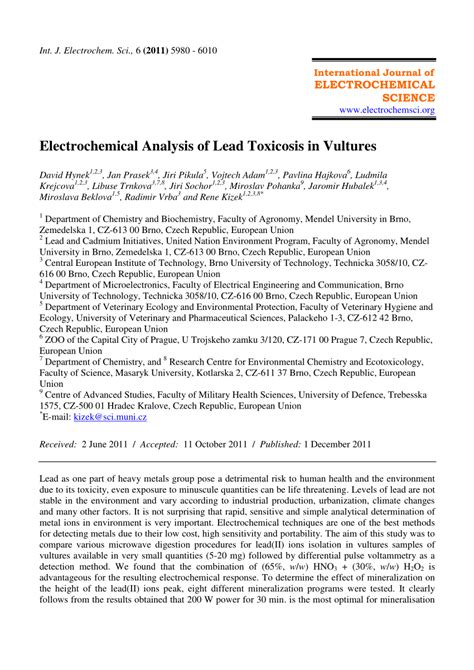 electrochemical analysis  lead toxicosis  vultures