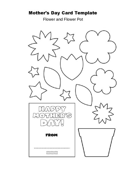 mothers day flower pot card template