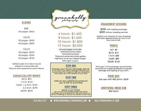 wedding photographer price list detroit green holly