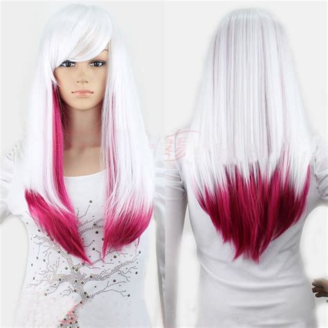 New Whiterose Red Lolita Ombre Wig Lady Long Straight