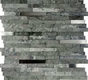 mosaic tile backsplash kitchen sample gray stainless steel insert mosaic