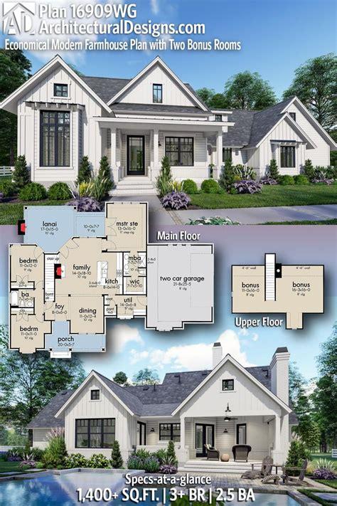 plan wg economical modern farmhouse plan   bonus rooms   farmhouse plans