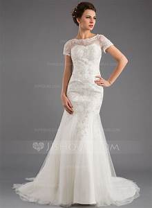 trumpet mermaid scoop neck court train tulle lace wedding With scoop neck wedding dress