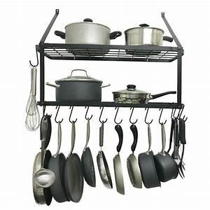 12, Hooks, Metal, Hanging, Pan, Pot, Rack, Wall, Mounted, Ot, Pan, Rack, Holder, Cookware, Storage, Shelf