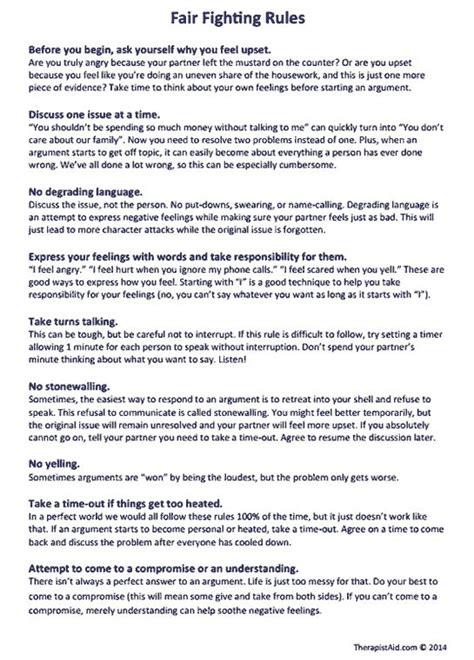 fair fighting rules worksheet communication breakdown