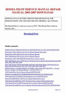 Honda Pilot Service Manual Repair Manual 2003