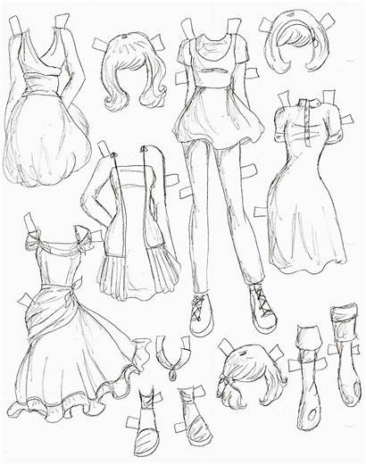 Anime Clothes Drawing Doll Paper Draw Drawings