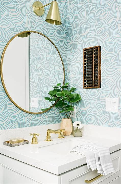gold  blue powder room design transitional bathroom