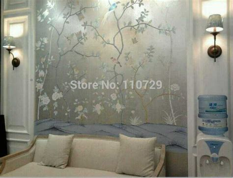 hand painted silver foil wall paper painting flowers
