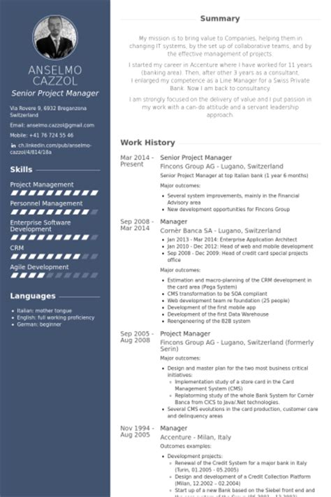 project manager resume template senior project manager resume sles visualcv resume sles