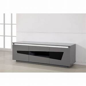 Meuble Bas Blanc Laqué : meuble tv bas laque gris ~ Edinachiropracticcenter.com Idées de Décoration