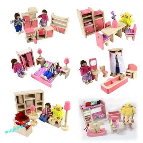 Dollhouse Furniture Set by Wooden Doll House Dollhouse Furniture Set Miniature 6