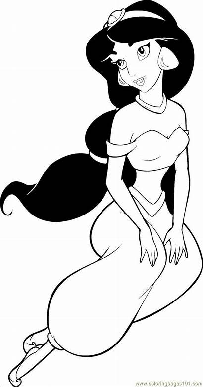 Coloring Jasmine Princess Disney Princesses Printable Pages