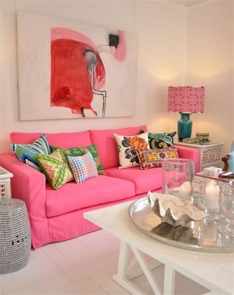 decoracion  la sala  sofas rosas tendencias en