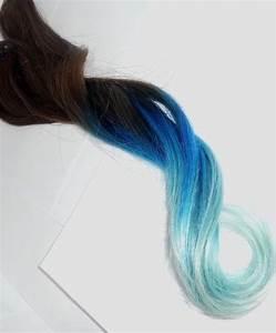 Blue dip dyed brown hair | Colorful Hair | Pinterest