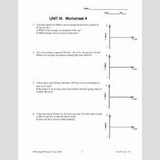 Unit Iii Worksheet 4  Uniform Acceleration Worksheet For 9th  12th Grade  Lesson Planet