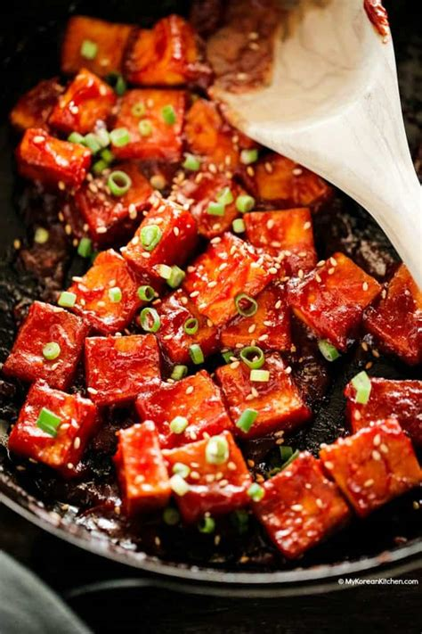korean tofu with spicy korean ketchup my korean kitchen