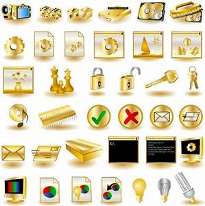 Gold common computer icon 02 vector Free vector in ...