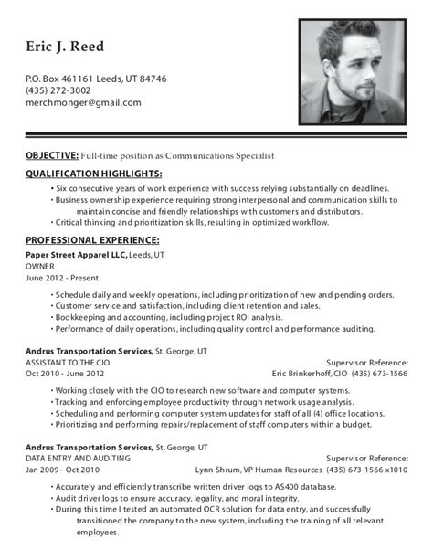 Communication Objective In Resume by Resume Eric J Reed Communications Specialist