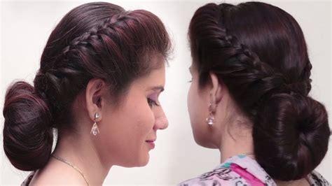 quick easy bubble bun hairstyles  saree simple