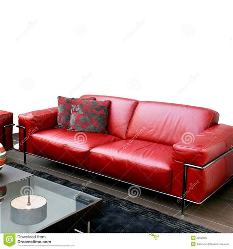 Red Leather Sofa Stock Photo Image 5263940
