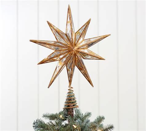 gold mirrored star tree topper pottery barn