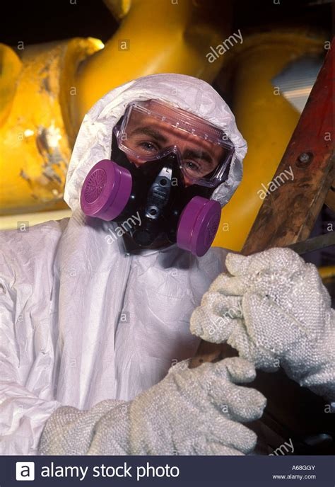 asbestos removal worker  protective suit  mask