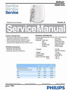 Philips Airfryer Hd9216 Original Service Manual  Free
