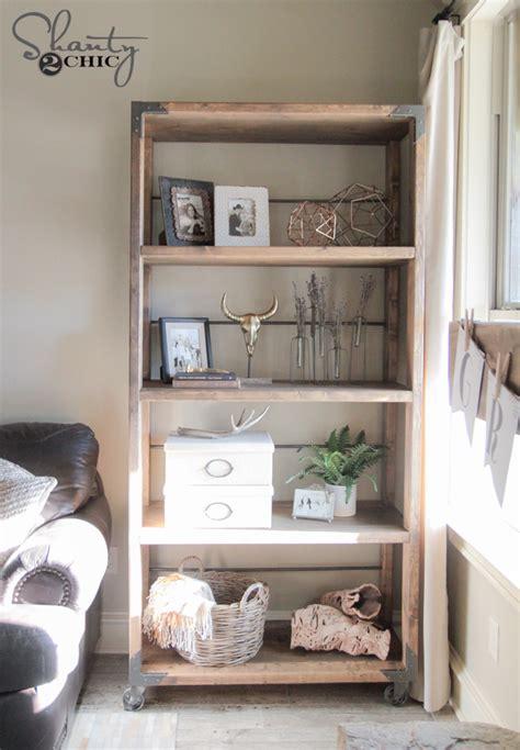 metal wood bookshelf diy industrial cart bookcase shanty 2 chic